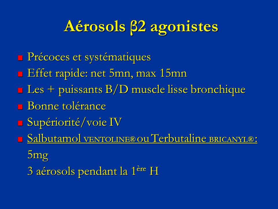 Aérosols β2 agonistes Aérosols β2 agonistes Précoces et systématiques Effet rapide: net 5mn, max 15mn Les + puissants B/D muscle lisse bronchique Bonn