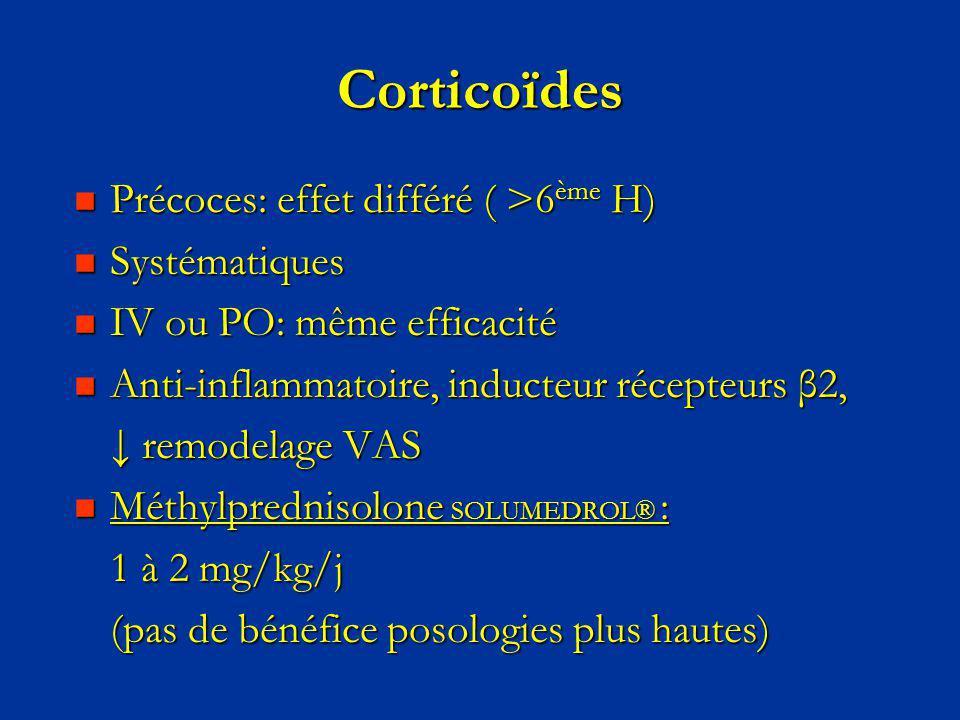 Corticoïdes Précoces: effet différé ( >6 ème H) Précoces: effet différé ( >6 ème H) Systématiques Systématiques IV ou PO: même efficacité IV ou PO: mê