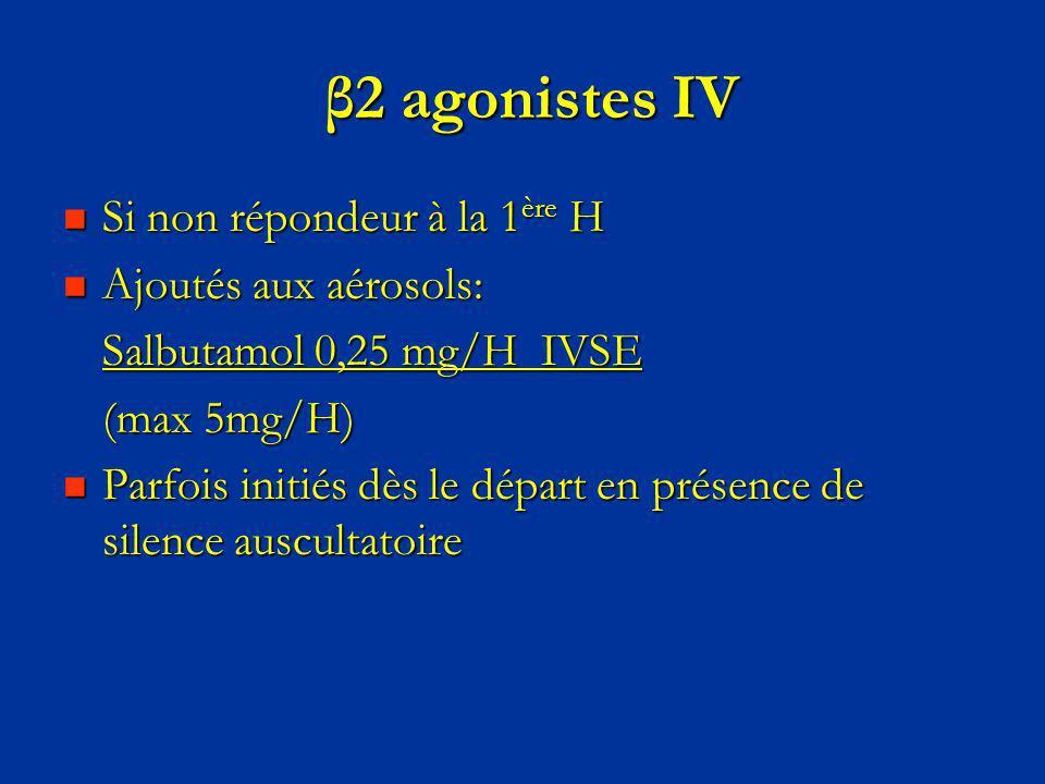 β2 agonistes IV β2 agonistes IV Si non répondeur à la 1 ère H Si non répondeur à la 1 ère H Ajoutés aux aérosols: Ajoutés aux aérosols: Salbutamol 0,2