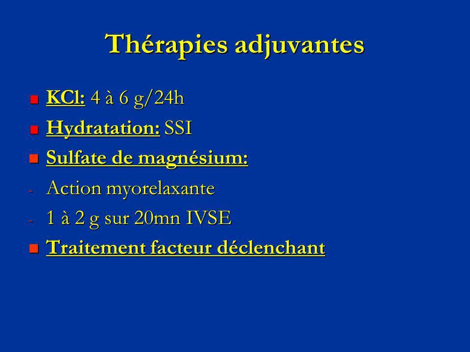Thérapies adjuvantes KCl: 4 à 6 g/24h Hydratation: SSI Sulfate de magnésium: Sulfate de magnésium: - Action myorelaxante - 1 à 2 g sur 20mn IVSE Trait