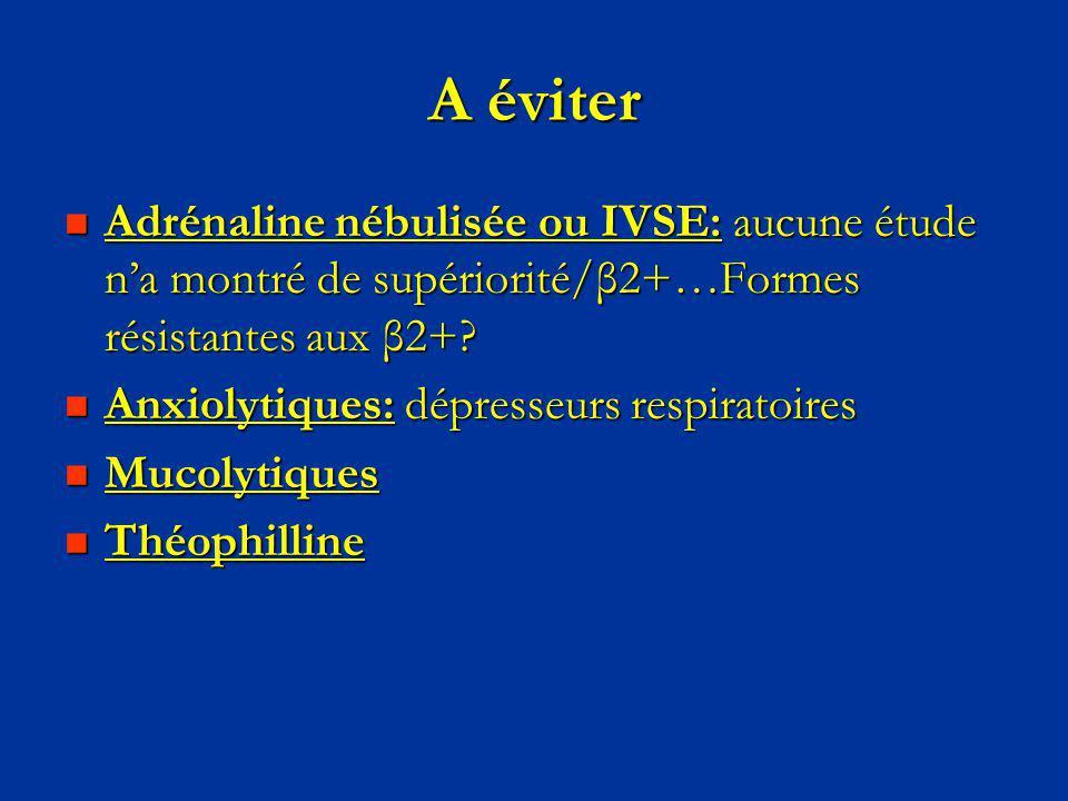 A éviter Adrénaline nébulisée ou IVSE: aucune étude na montré de supériorité/β2+…Formes résistantes aux β2+? Adrénaline nébulisée ou IVSE: aucune étud
