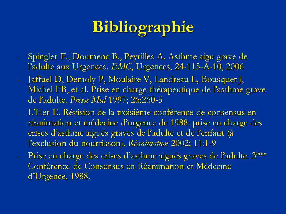 Bibliographie - Spingler F., Doumenc B., Peyrilles A. Asthme aigu grave de ladulte aux Urgences. EMC, Urgences, 24-115-A-10, 2006 - Jaffuel D, Demoly