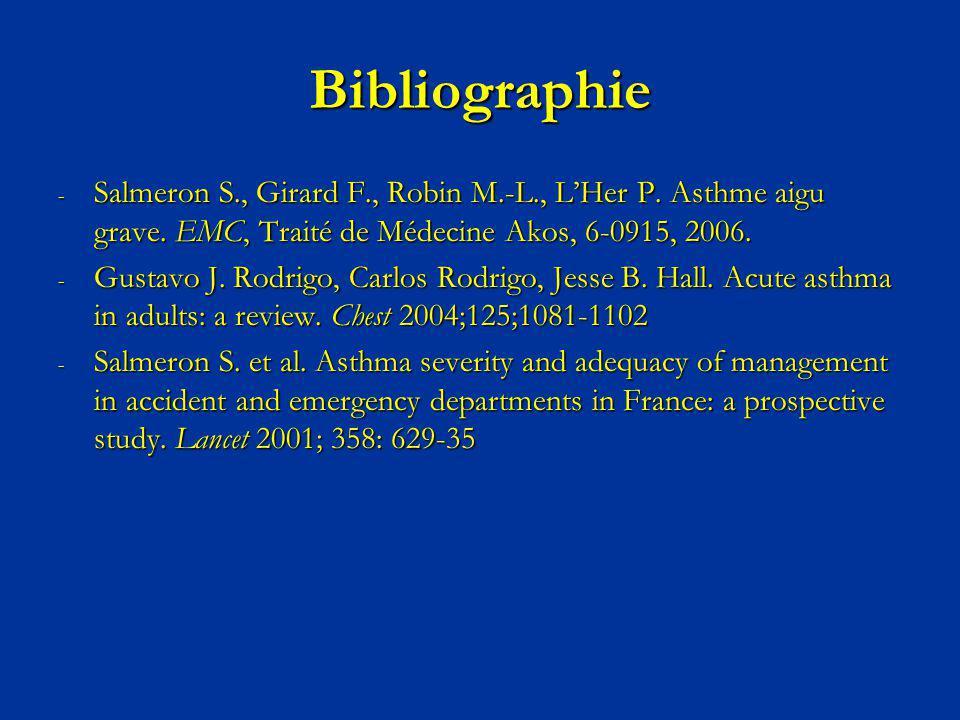 Bibliographie - Salmeron S., Girard F., Robin M.-L., LHer P. Asthme aigu grave. EMC, Traité de Médecine Akos, 6-0915, 2006. - Gustavo J. Rodrigo, Carl