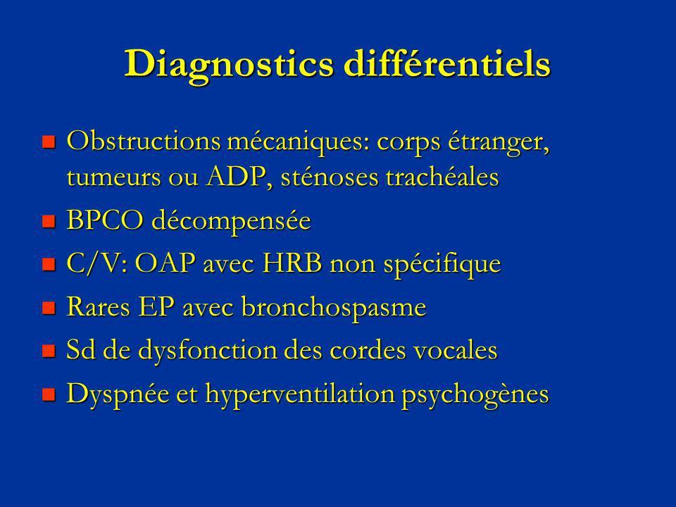 Diagnostics différentiels Obstructions mécaniques: corps étranger, tumeurs ou ADP, sténoses trachéales Obstructions mécaniques: corps étranger, tumeur