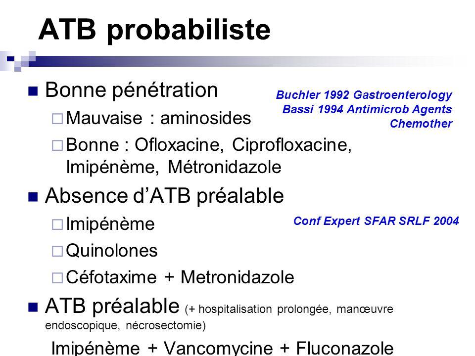 ATB probabiliste Bonne pénétration Mauvaise : aminosides Bonne : Ofloxacine, Ciprofloxacine, Imipénème, Métronidazole Absence dATB préalable Imipénème