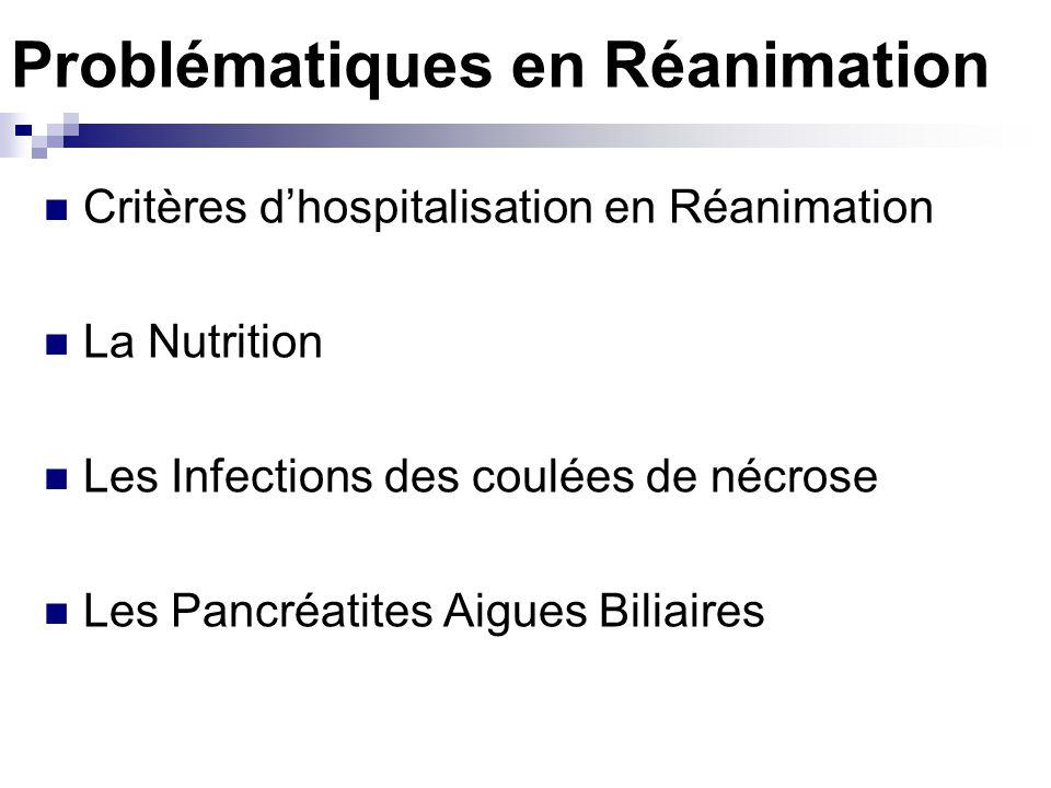 Problématiques en Réanimation Critères dhospitalisation en Réanimation La Nutrition Les Infections des coulées de nécrose Les Pancréatites Aigues Bili
