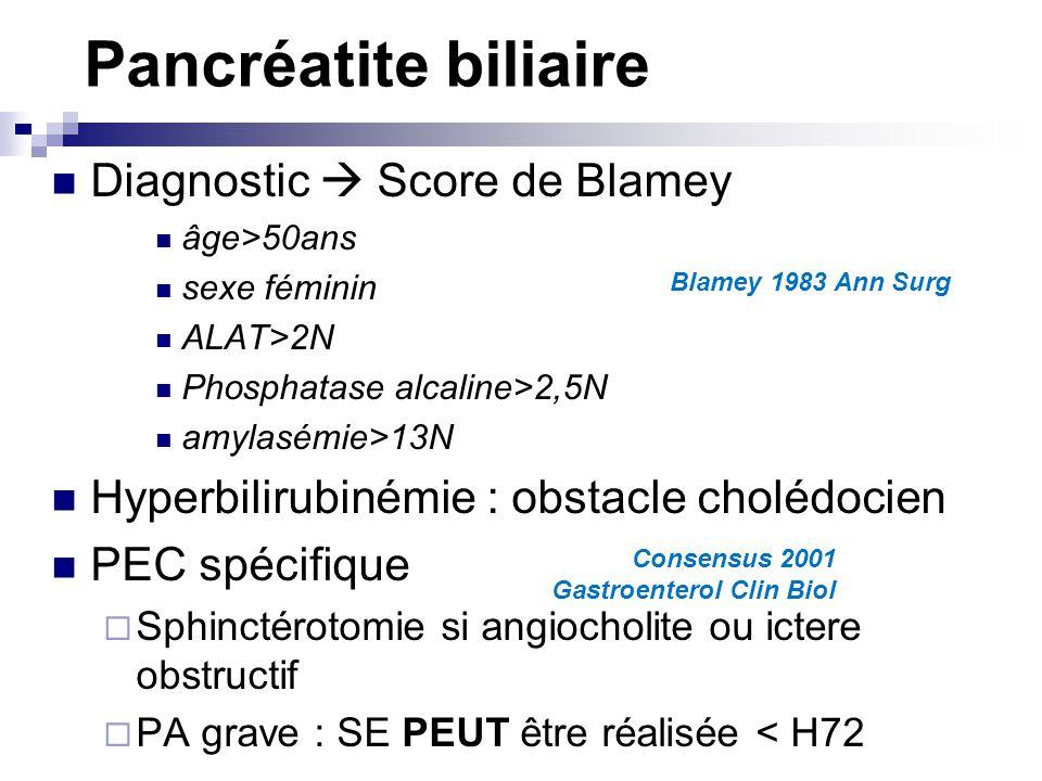 Pancréatite biliaire Diagnostic Score de Blamey âge>50ans sexe féminin ALAT>2N Phosphatase alcaline>2,5N amylasémie>13N Hyperbilirubinémie : obstacle