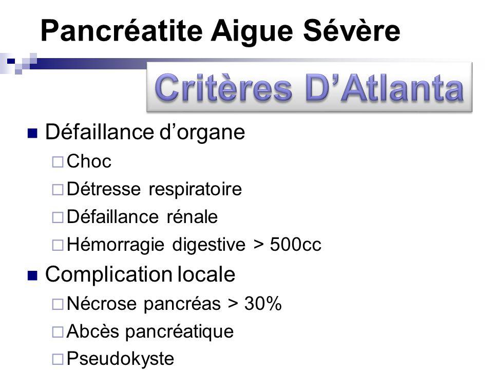 Pancréatite Aigue Sévère Défaillance dorgane Choc Détresse respiratoire Défaillance rénale Hémorragie digestive > 500cc Complication locale Nécrose pa