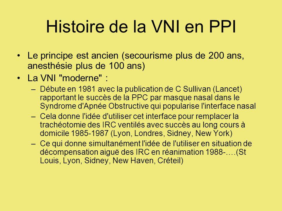 Histoire de la VNI en PPI Le principe est ancien (secourisme plus de 200 ans, anesthésie plus de 100 ans) La VNI moderne : –Débute en 1981 avec la publication de C Sullivan (Lancet) rapportant le succès de la PPC par masque nasal dans le Syndrome d Apnée Obstructive qui popularise l interface nasal –Cela donne l idée d utiliser cet interface pour remplacer la trachéotomie des IRC ventilés avec succès au long cours à domicile 1985-1987 (Lyon, Londres, Sidney, New York) –Ce qui donne simultanément l idée de l utiliser en situation de décompensation aiguë des IRC en réanimation 1988-….(St Louis, Lyon, Sidney, New Haven, Créteil)