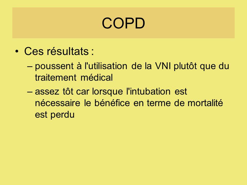 COPD Ces résultats : –poussent à l utilisation de la VNI plutôt que du traitement médical –assez tôt car lorsque l intubation est nécessaire le bénéfice en terme de mortalité est perdu