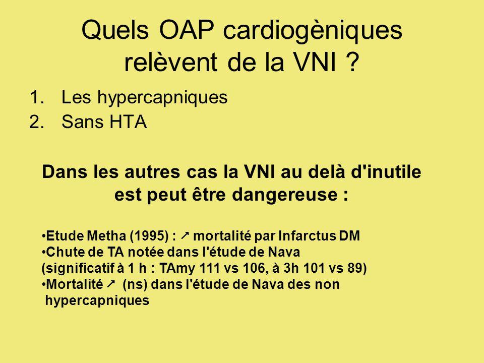 Quels OAP cardiogèniques relèvent de la VNI ? 1.Les hypercapniques 2.Sans HTA Dans les autres cas la VNI au delà d'inutile est peut être dangereuse :