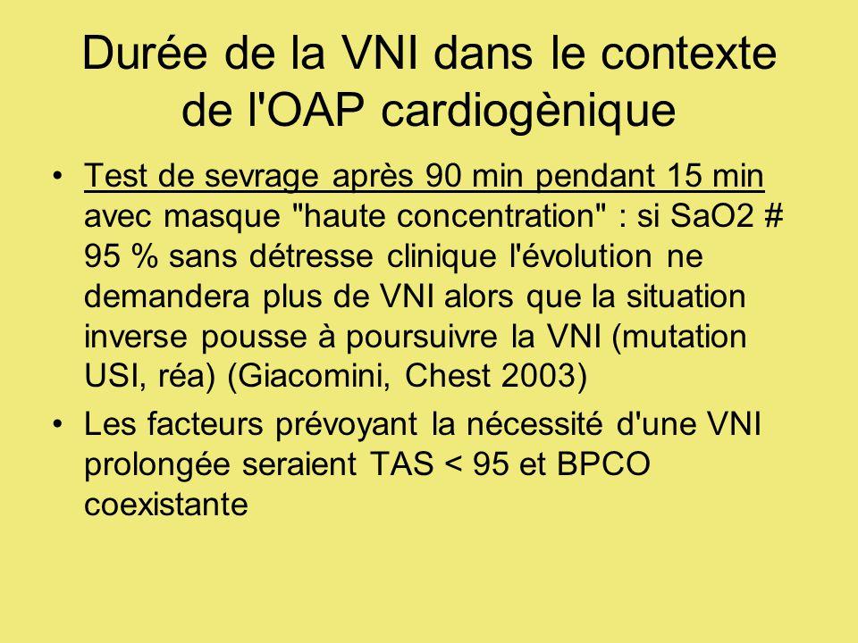 Durée de la VNI dans le contexte de l OAP cardiogènique Test de sevrage après 90 min pendant 15 min avec masque haute concentration : si SaO2 # 95 % sans détresse clinique l évolution ne demandera plus de VNI alors que la situation inverse pousse à poursuivre la VNI (mutation USI, réa) (Giacomini, Chest 2003) Les facteurs prévoyant la nécessité d une VNI prolongée seraient TAS < 95 et BPCO coexistante