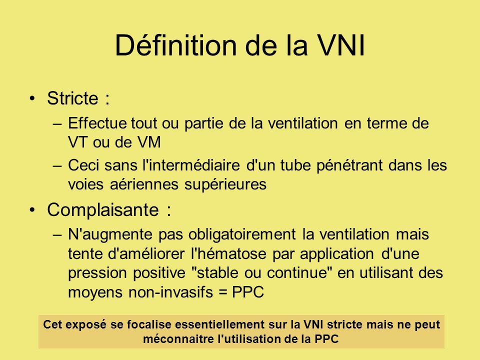 Définition de la VNI Stricte : –Effectue tout ou partie de la ventilation en terme de VT ou de VM –Ceci sans l intermédiaire d un tube pénétrant dans les voies aériennes supérieures Complaisante : –N augmente pas obligatoirement la ventilation mais tente d améliorer l hématose par application d une pression positive stable ou continue en utilisant des moyens non-invasifs = PPC Cet exposé se focalise essentiellement sur la VNI stricte mais ne peut méconnaitre l utilisation de la PPC