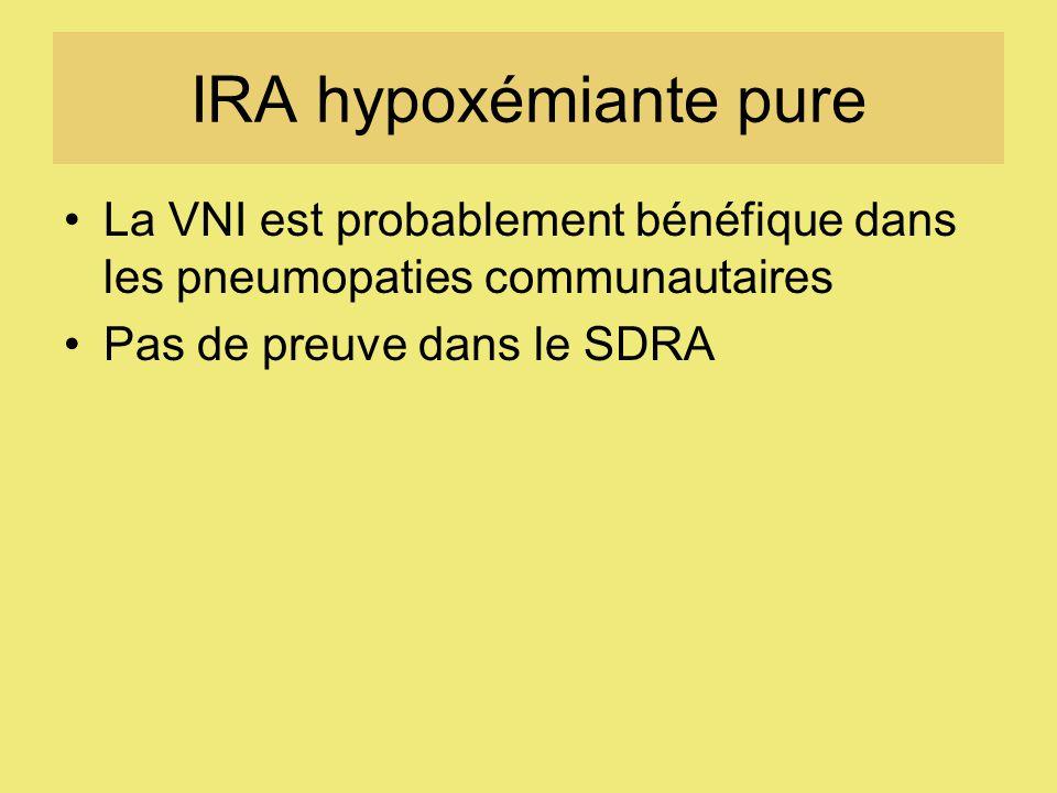 IRA hypoxémiante pure La VNI est probablement bénéfique dans les pneumopaties communautaires Pas de preuve dans le SDRA