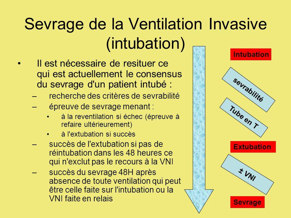 Sevrage de la Ventilation Invasive (intubation) Il est nécessaire de resituer ce qui est actuellement le consensus du sevrage d un patient intubé : –recherche des critères de sevrabilité –épreuve de sevrage menant : à la reventilation si échec (épreuve à refaire ultérieurement) à l extubation si succès –succès de l extubation si pas de réintubation dans les 48 heures ce qui n exclut pas le recours à la VNI –succès du sevrage 48H après absence de toute ventilation qui peut être celle faite sur l intubation ou la VNI faite en relais Intubation sevrabilité Extubation Tube en T ± VNI Sevrage