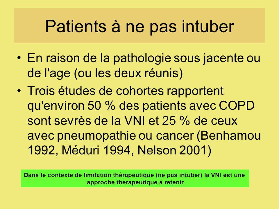 Patients à ne pas intuber En raison de la pathologie sous jacente ou de l age (ou les deux réunis) Trois études de cohortes rapportent qu environ 50 % des patients avec COPD sont sevrès de la VNI et 25 % de ceux avec pneumopathie ou cancer (Benhamou 1992, Méduri 1994, Nelson 2001) Dans le contexte de limitation thérapeutique (ne pas intuber) la VNI est une approche thérapeutique à retenir