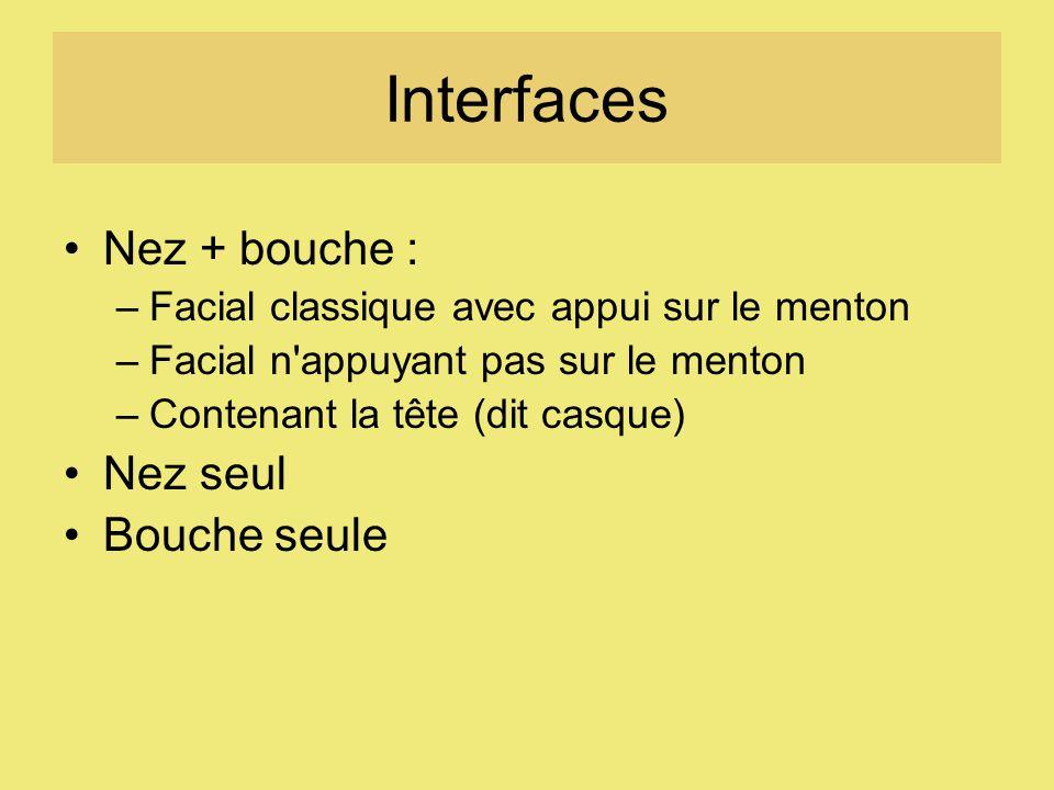 Interfaces Nez + bouche : –Facial classique avec appui sur le menton –Facial n appuyant pas sur le menton –Contenant la tête (dit casque) Nez seul Bouche seule