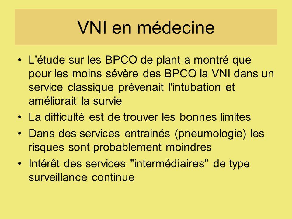 VNI en médecine L'étude sur les BPCO de plant a montré que pour les moins sévère des BPCO la VNI dans un service classique prévenait l'intubation et a