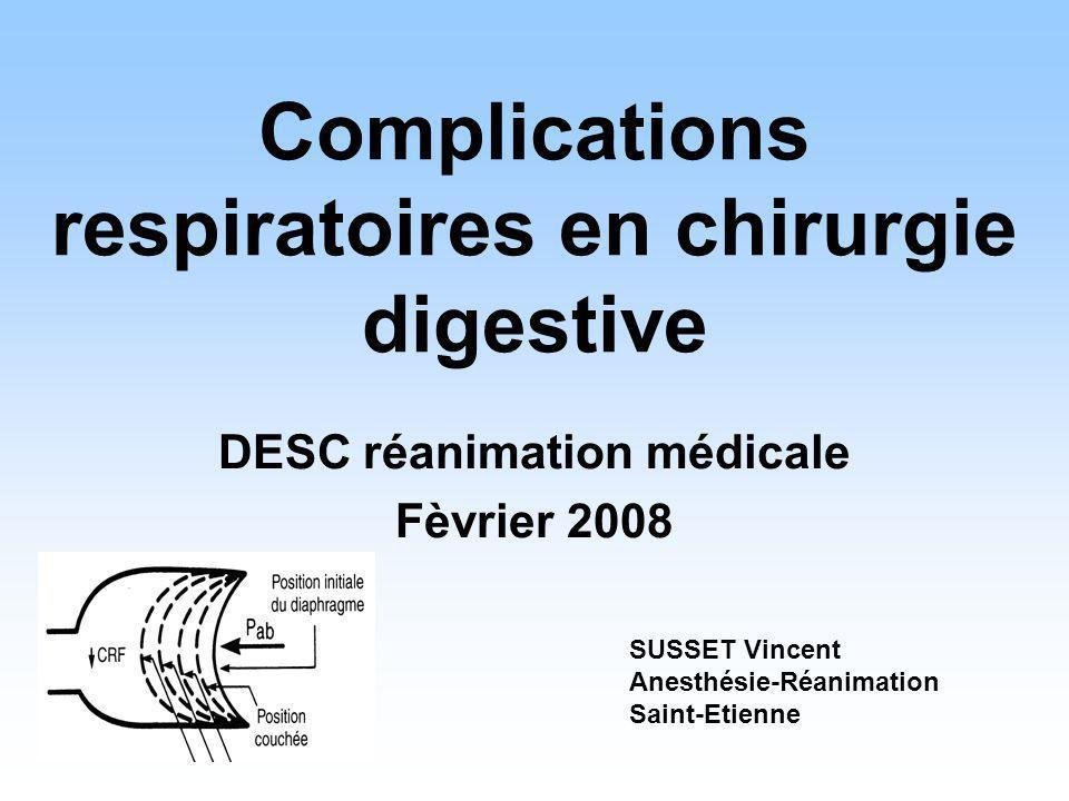 CHIRURGIE ABDOMINALE HAUTE OU THORACIQUE En curatif: VNI (VS-PEP ou VS-AI-PEP) diminue le taux dintubations et la morbidité de lIRA postopératoire (G2+): indiquée si absence dinterfèrence avec la recherche et la prise en charge dune complication chirurgicale Conférence de consensus Conférence de consensus commune de la SRLF, de la SFAR, et de la SPLF (2006) Ventilation non invasive au cours de linsuffisance respiratoire aiguë étude prospective randomisée VNI versus oxygénothérapie chez 40 patients en IRA postopératoire groupe VNI: diminution intubation (20% vs 70%), morbidité (20% vs 50%), mortalité (20% vs 50%) et durée de séjour en réanimation Antonelli et al 2000