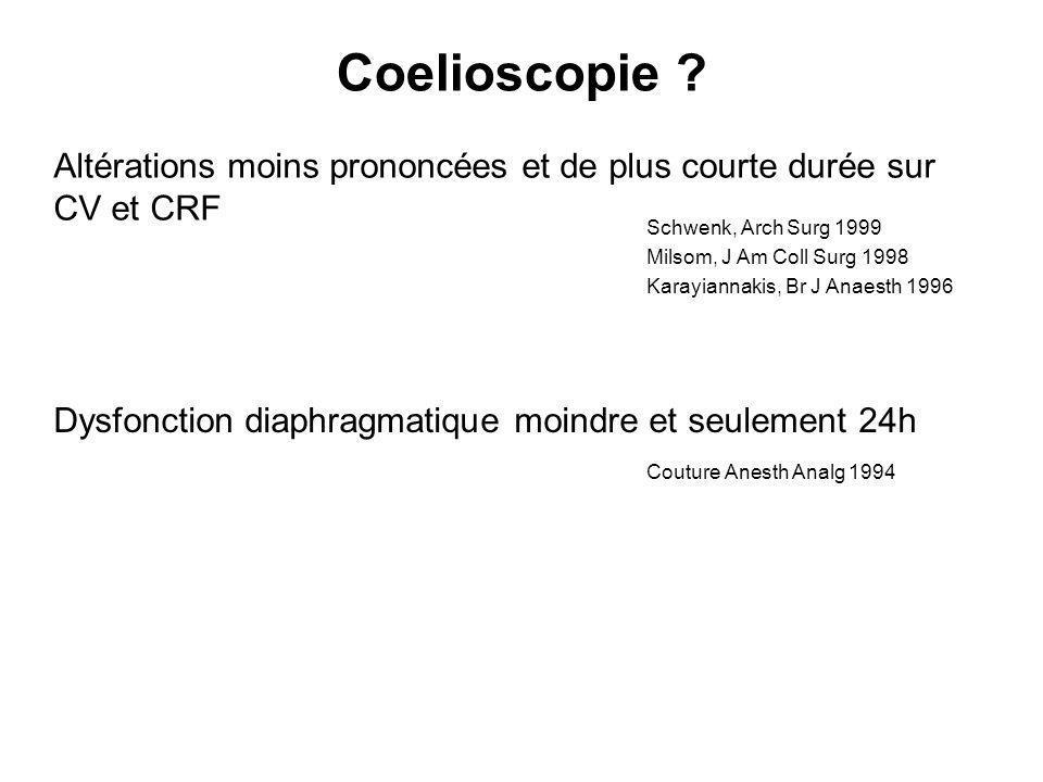 Coelioscopie ? Altérations moins prononcées et de plus courte durée sur CV et CRF Schwenk, Arch Surg 1999 Milsom, J Am Coll Surg 1998 Karayiannakis, B