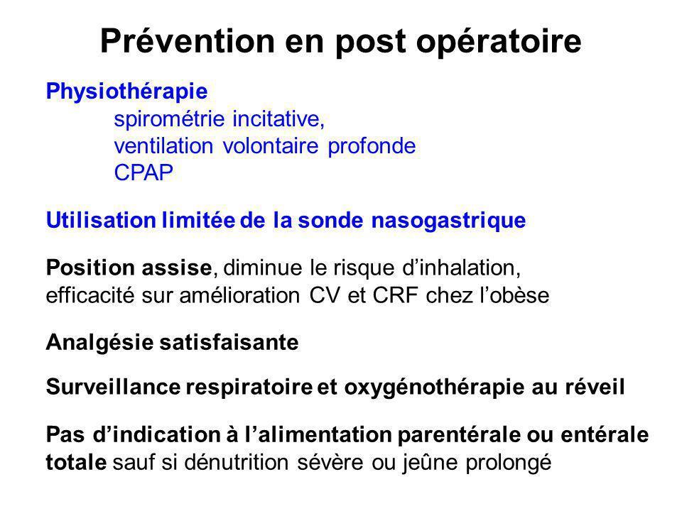 Prévention en post opératoire Physiothérapie spirométrie incitative, ventilation volontaire profonde CPAP Utilisation limitée de la sonde nasogastriqu