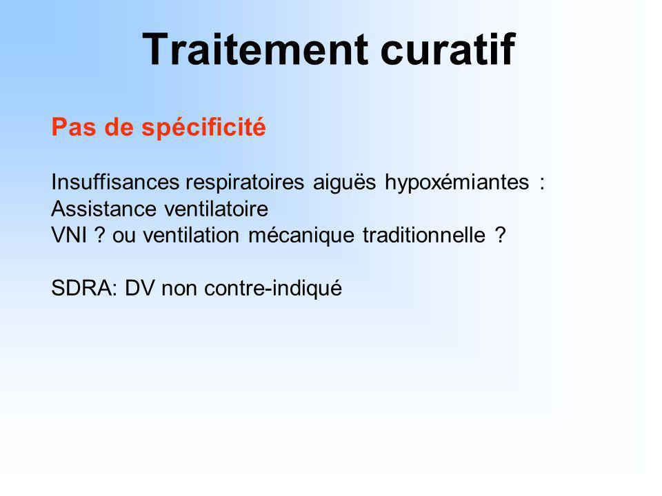 Traitement curatif Pas de spécificité Insuffisances respiratoires aiguës hypoxémiantes : Assistance ventilatoire VNI ? ou ventilation mécanique tradit