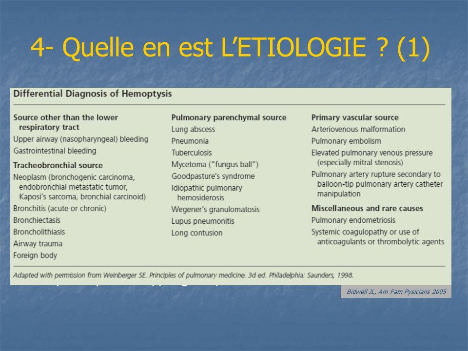 4- Quelle en est LETIOLOGIE ? (1) - Infections 60% (bronchite, PNP, BK, aspergillus, ± virus) - Tumeurs bronchiques malignes (Primaires >> métas) ou b