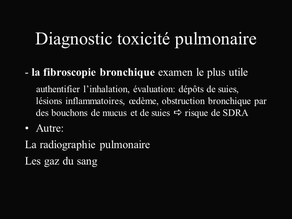 Diagnostic toxicité pulmonaire - la fibroscopie bronchique examen le plus utile authentifier linhalation, évaluation: dépôts de suies, lésions inflamm