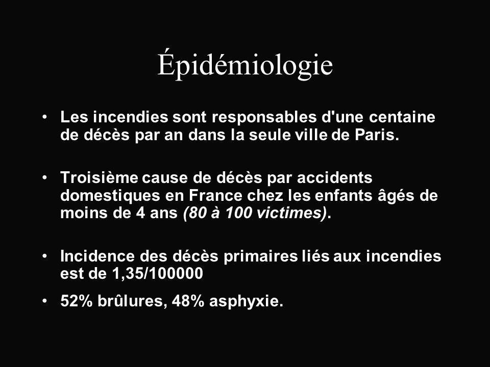 Épidémiologie Les incendies sont responsables d'une centaine de décès par an dans la seule ville de Paris. Troisième cause de décès par accidents dome