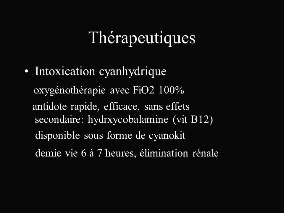 Thérapeutiques Intoxication cyanhydrique oxygénothérapie avec FiO2 100% antidote rapide, efficace, sans effets secondaire: hydrxycobalamine (vit B12)