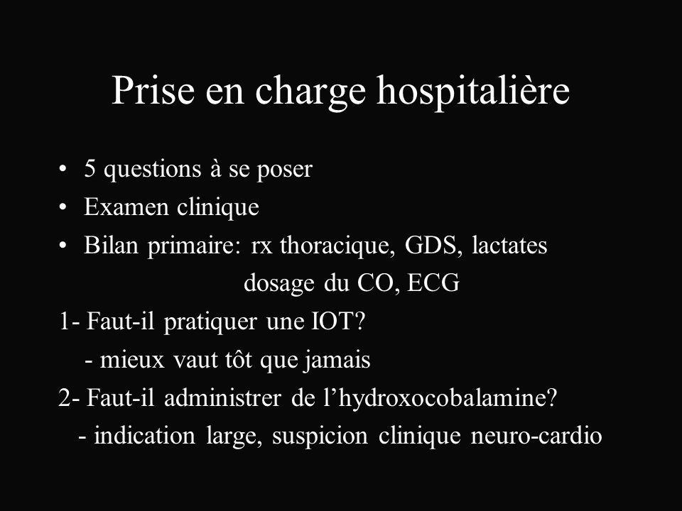 Prise en charge hospitalière 5 questions à se poser Examen clinique Bilan primaire: rx thoracique, GDS, lactates dosage du CO, ECG 1- Faut-il pratique