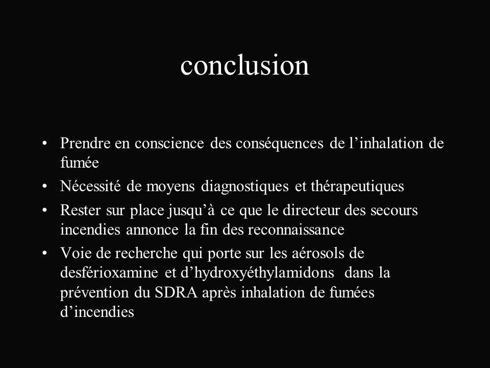 conclusion Prendre en conscience des conséquences de linhalation de fumée Nécessité de moyens diagnostiques et thérapeutiques Rester sur place jusquà