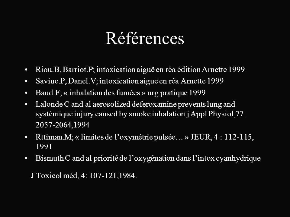 Références Riou.B, Barriot.P; intoxication aiguë en réa édition Arnette 1999 Saviuc.P, Danel.V; intoxication aiguë en réa Arnette 1999 Baud.F; « inhal