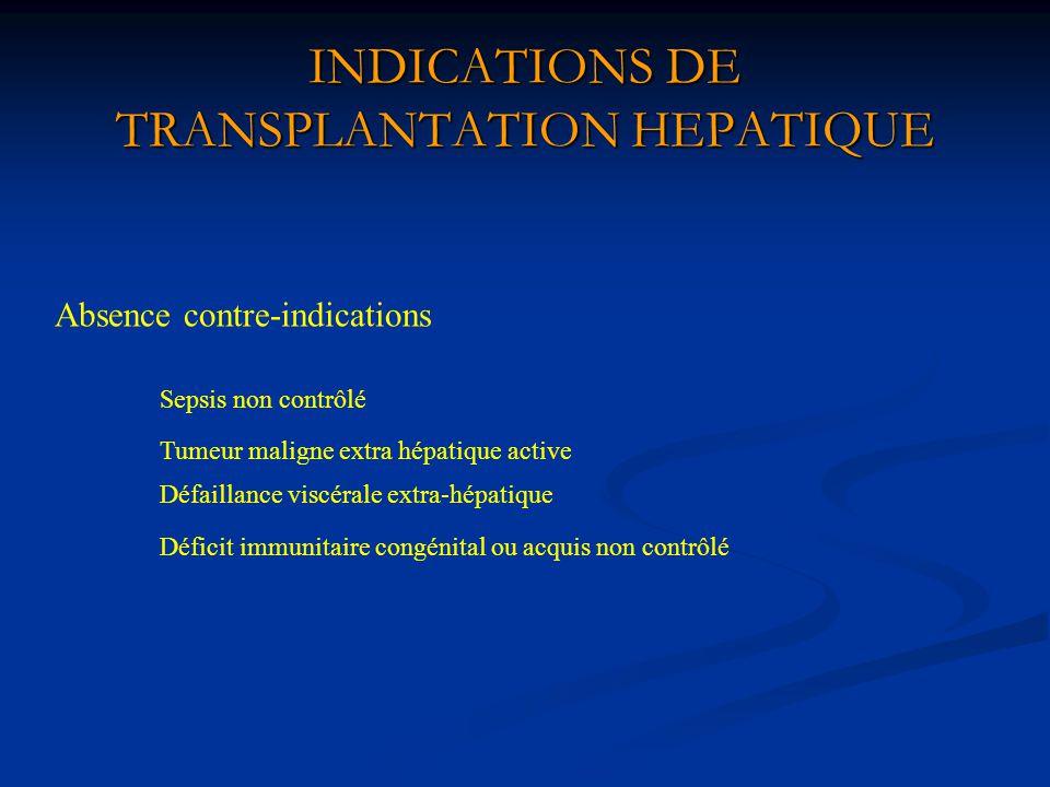 INDICATIONS DE TRANSPLANTATION HEPATIQUE Absence contre-indications Sepsis non contrôlé Tumeur maligne extra hépatique active Défaillance viscérale ex
