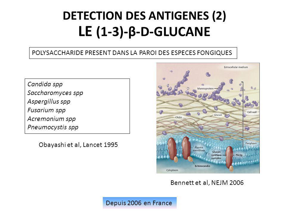 Depuis 2006 en France DETECTION DES ANTIGENES (2) LE (1-3)-β-D-GLUCANE POLYSACCHARIDE PRESENT DANS LA PAROI DES ESPECES FONGIQUES Candida spp Saccharo