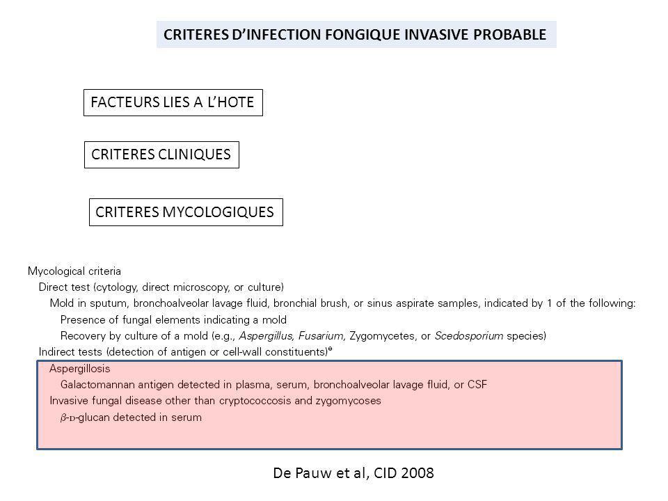 CRITERES DINFECTION FONGIQUE INVASIVE PROBABLE FACTEURS LIES A LHOTE CRITERES CLINIQUES CRITERES MYCOLOGIQUES De Pauw et al, CID 2008
