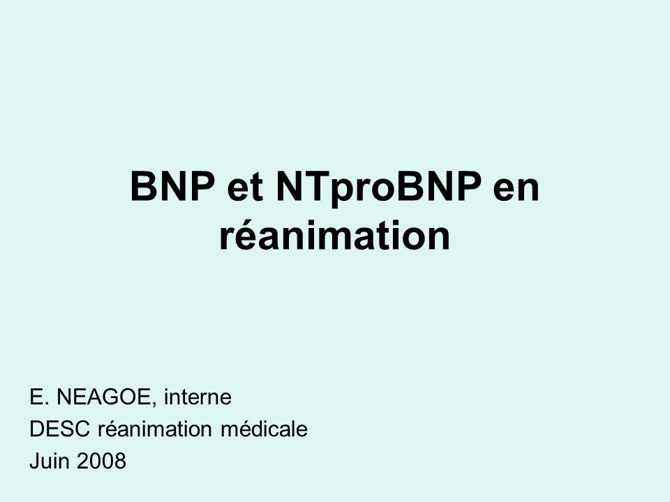 Les markers les plus spécifique de la dysfonction ventriculaire intérêt clinique +++ Libération à partir des granules de stockage par étirement des cardiomyocytes Secondairement à une élévation du stress pariétal: surcharge en pression ou volume Taux plus élevés chez la femme, le sujet âgé, linsuffisant rénal BNP et NTproBNP Les données démontrées pour le BNP le sont pour le NT-proBNP avec des valeurs seuil différentes