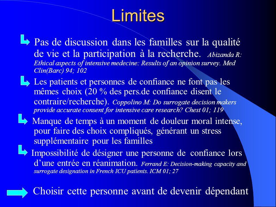 Limites Pas de discussion dans les familles sur la qualité de vie et la participation à la recherche. Abizanda R: Ethical aspects of intensive medecin