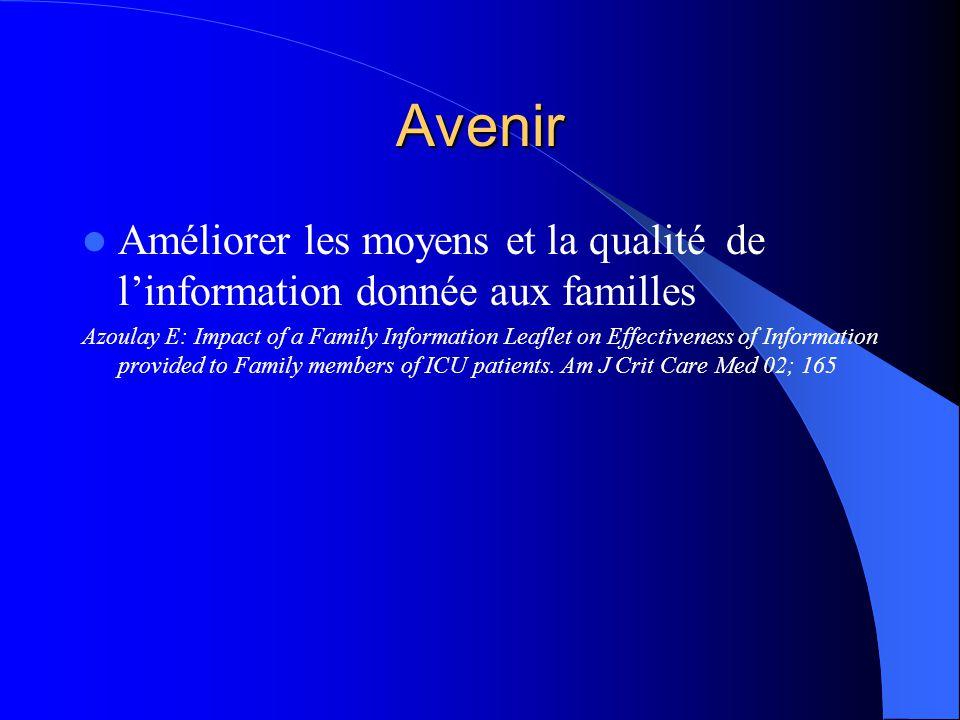 Avenir Améliorer les moyens et la qualité de linformation donnée aux familles Azoulay E: Impact of a Family Information Leaflet on Effectiveness of In