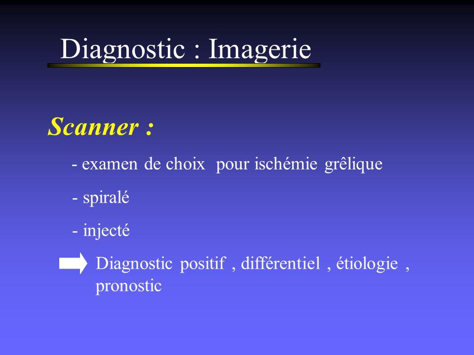 Diagnostic : Imagerie Scanner : - examen de choix pour ischémie grêlique - spiralé - injecté Diagnostic positif, différentiel, étiologie, pronostic