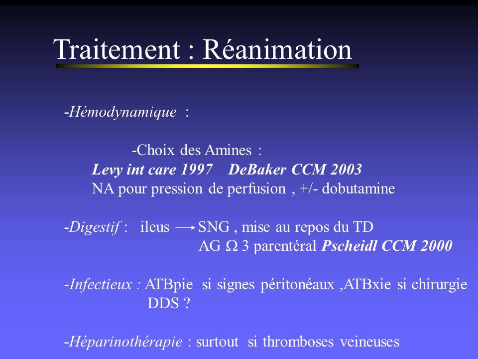 Traitement : Réanimation -Hémodynamique : -Choix des Amines : Levy int care 1997 DeBaker CCM 2003 NA pour pression de perfusion, +/- dobutamine -Diges