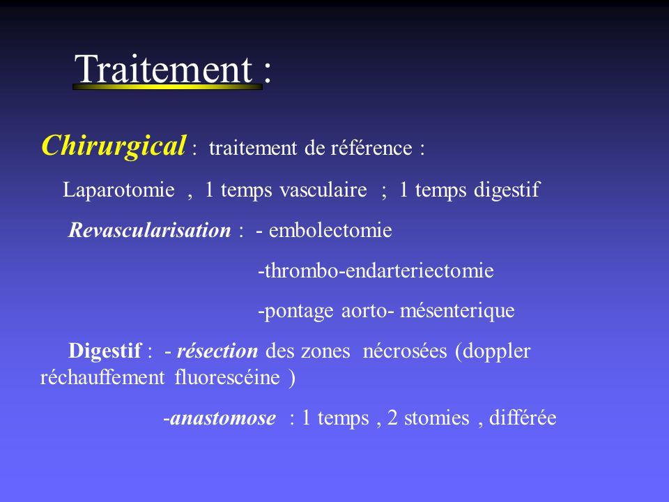 Traitement : Chirurgical : traitement de référence : Laparotomie, 1 temps vasculaire ; 1 temps digestif Revascularisation : - embolectomie -thrombo-en
