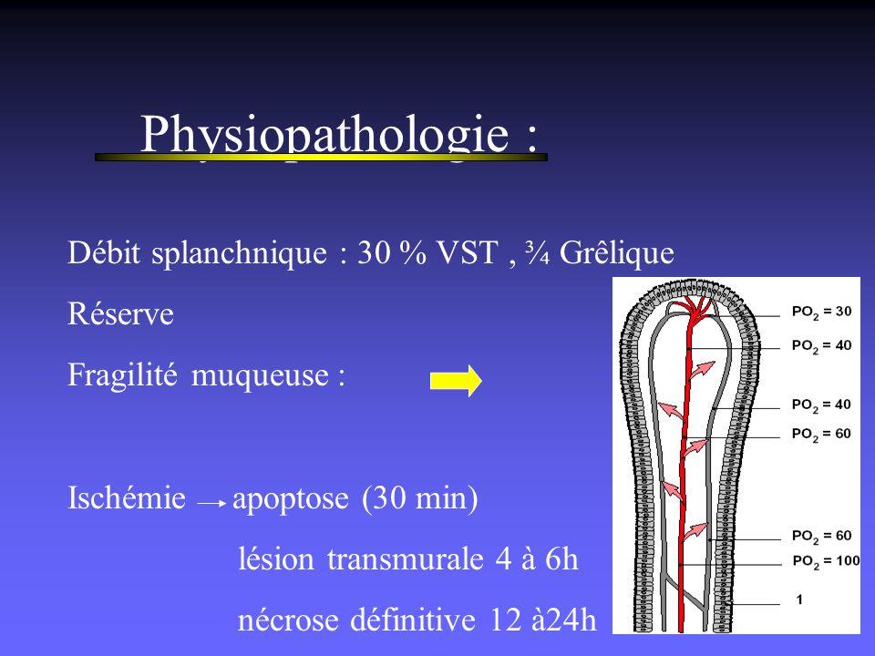 Physiopathologie : Débit splanchnique : 30 % VST, ¾ Grêlique Réserve Fragilité muqueuse : Ischémie apoptose (30 min) lésion transmurale 4 à 6h nécrose