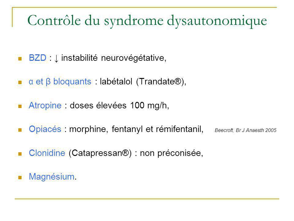 Contrôle du syndrome dysautonomique BZD : instabilité neurovégétative, α et β bloquants : labétalol (Trandate®), Atropine : doses élevées 100 mg/h, Op