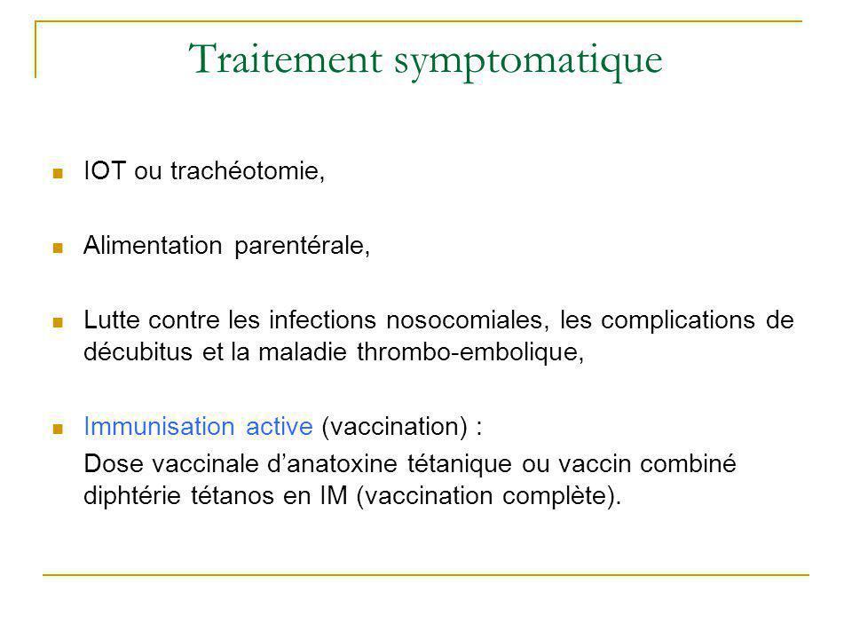 Traitement symptomatique IOT ou trachéotomie, Alimentation parentérale, Lutte contre les infections nosocomiales, les complications de décubitus et la
