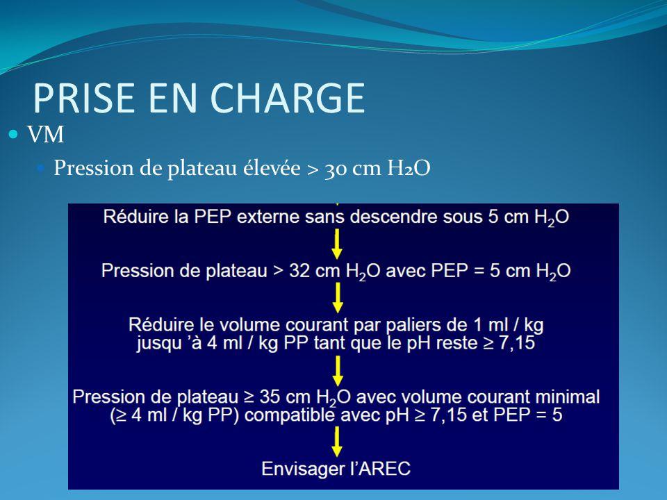 PRISE EN CHARGE VM Pression de plateau élevée > 30 cm H 2 O