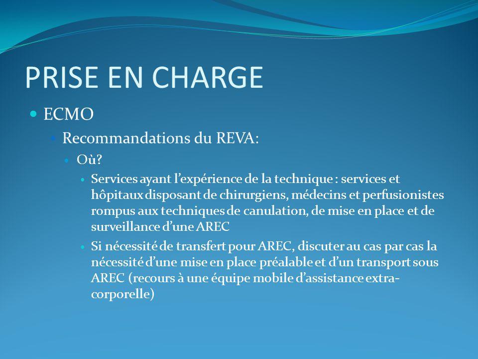 PRISE EN CHARGE ECMO Recommandations du REVA: Où? Services ayant lexpérience de la technique : services et hôpitaux disposant de chirurgiens, médecins