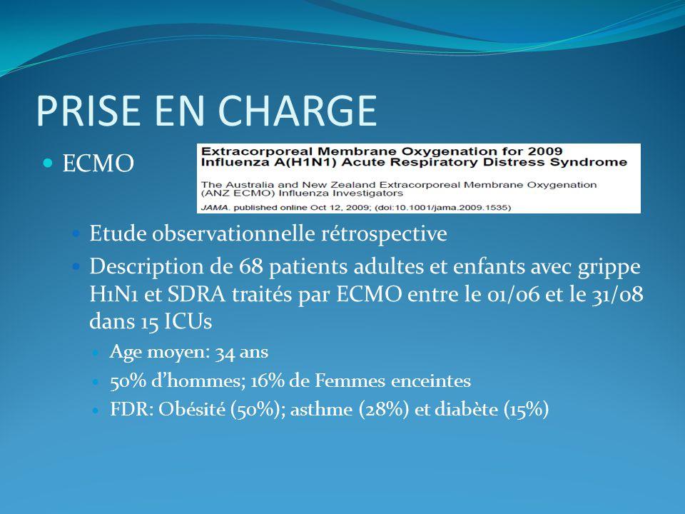 PRISE EN CHARGE ECMO Etude observationnelle rétrospective Description de 68 patients adultes et enfants avec grippe H1N1 et SDRA traités par ECMO entr