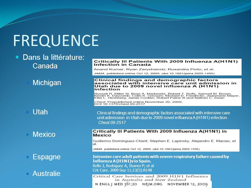 FACTEURS DE RISQUE CANADAMICHIGANUTAHMEXICOSPAINAUSTRALIETOTAL période16/04-12/0822/05-13/0619/05-30/0624/03-1/0623/06-31/071/06-31/08 cas(n)16810475832722 1037 age moyen324634443640 38.7 H%33nc43476648 47.4 % F enceinte13 (7.7%)nc4 (8.5%)nc2 (6.25%)66 (9.1%) Enfants50nc 20 52 vaccin10nc 2 12 (1.7%)