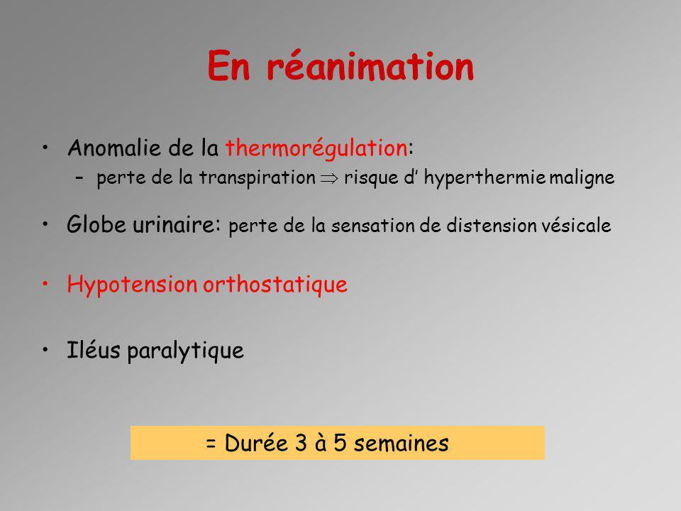 En réanimation Anomalie de la thermorégulation: –perte de la transpiration risque d hyperthermie maligne Globe urinaire: perte de la sensation de dist